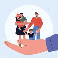 proteção familiar de mãe, pai, filha e filho, por lado desenho vetorial vetor