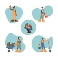 conjunto de ícones de pessoas da fazenda design de vetor