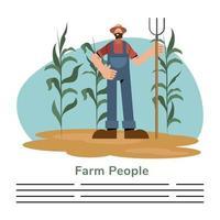 Fazendeiros e fazendeiros com modelo de banner de ancinho vetor