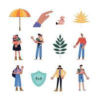 conjunto de ícones de proteção familiar design de vetor