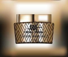 frasco dourado de creme facial de cosméticos sofisticados e elegantes, download gratuito do frasco de creme anti-envelhecimento, design de embalagem de cosméticos, design de modelo de pacote, design de etiqueta vetor