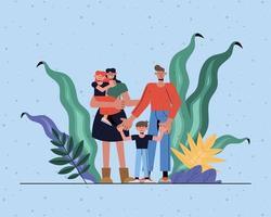 mãe, pai, filha e filho com folhas de desenho vetorial vetor