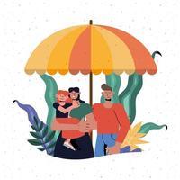 proteção familiar de mãe, pai e filha sob um guarda-chuva vetor