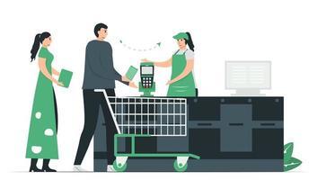 Smartphone NFC pode pagar dinheiro no supermercado. vetor