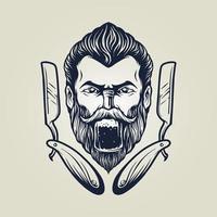 barbeiro com ilustração de garrafa vetor