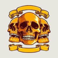 crânio de arte humana com ilustração vetorial de banner vetor