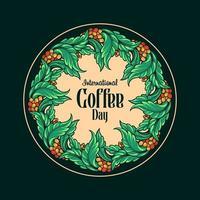 ilustração vintage botânica do dia internacional do café vetor
