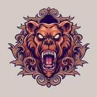 Mascote urso bravo com ilustração de ornamentos