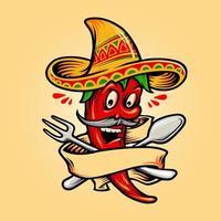 Pimenta malagueta vermelha quente mexicana com mascote banner vetor