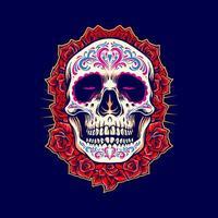 mascote do crânio mexicano com ilustração de rosas vetor