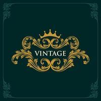 coroa ornamento de moldura dourada vintage vetor