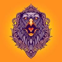 ilustração de águia zangada com ornamentos vetor