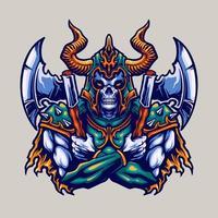 ilustração de guerreiro com machados e capacete viking vetor