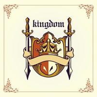 emblema do reino com fita e espadas vetor