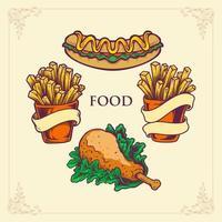 Conjunto de ilustração de cachorro-quente de fast food, frango com batata frita vetor