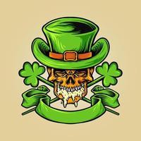 Mascote Skulll para o Dia da Cerveja de São Patrício vetor