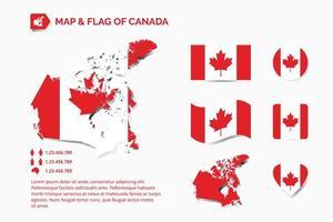 mapa e bandeira do canadá vetor