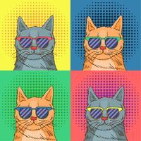 Óculos Cat Pop Art vetor