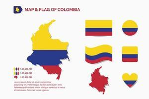 mapa e bandeira da colômbia vetor