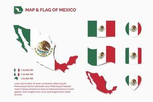 mapa e bandeira do méxico vetor