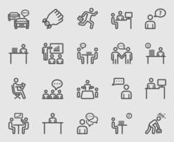 todos os dias no conjunto de ícones de linha de escritório