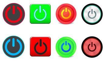 conjunto de ícones de botão liga / desliga. desligar. Ligar. desligar. inicializando. vetor