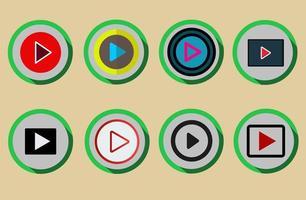 conjunto de botão de reprodução de mídia em estilo plano colorido vetor