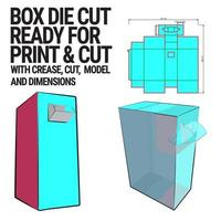 molde de cubo cortado em caixa com visualização em 3D organizado com corte, vinco, modelo e dimensões prontas para cortar e imprimir, em escala real e totalmente funcional. preparado para papelão real vetor