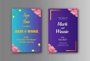 modelo de convite de cartão de casamento com molduras de flores com estilo gradiente vetor