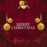 fundo vermelho para feliz natal com bolas douradas vetor