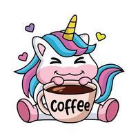 expressão de um unicórnio bonito dos desenhos animados feliz com uma xícara de café vetor
