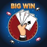 vetor de mão com cartão de poker e texto de grande vitória. conceito de ícone do jogo no fundo da marinha.
