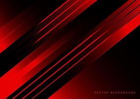 tecnologia abstrata vermelha e preta com linhas diagonais sobrepostas. vetor