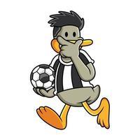 pato dos desenhos animados jogando futebol. ilustração em vetor clip art com gradientes simples. tudo em uma única camada.