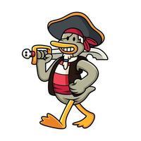 ilustração dos desenhos animados do vetor de pato pirata. conceito de ícone de fantasia animal isolado no fundo branco.