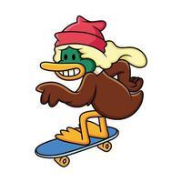pato cartoon skate. ilustração em vetor clip art com gradientes simples com pose engraçada.