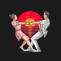 casal romântico ama dança ilustração vetorial vetor