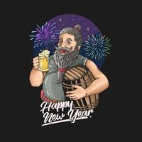 velho barbudo na celebração do ano novo bebendo uma cerveja. vetor