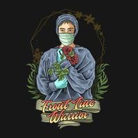 médico e enfermeira vetor de ilustração de guerreiro de primeira linha