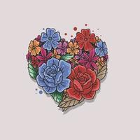 ilustração vetorial de formato de coração rosa floral