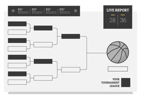torneio de basquete online bracket flat illustration vetor
