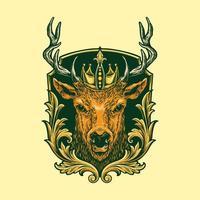 emblema da cabeça do rei veado vetor