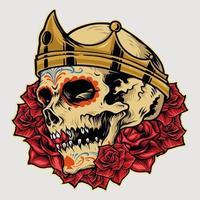 coroa real do rei do crânio com ilustração da rosa