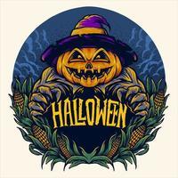 design assustador de abóbora de halloween vetor