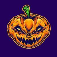 mascote monstro do crânio de halloween