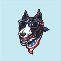 cachorro pitbull terrier americano usando óculos escuros