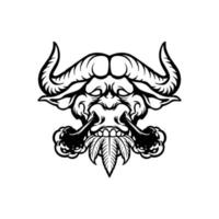animal búfalo com fumaça nas narinas vetor