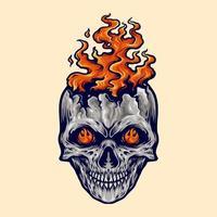 ilustração de fogo de caveira com raiva vetor