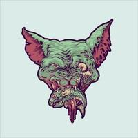 ilustração de cabeça de gato vampiro comido peixe vetor