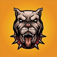 ilustração em vetor mascote pitbull de cachorro zangado